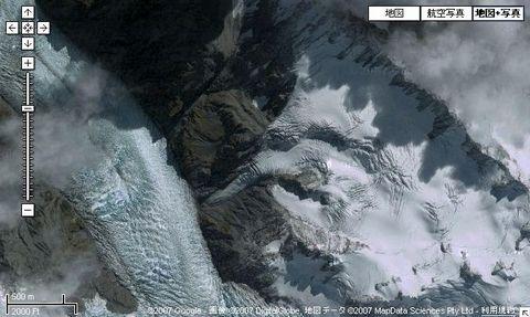 氷河の衛星写真